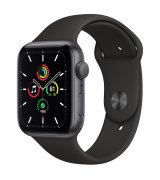 Apple Watch SE 44mm (GPS) Space Gray Aluminum Case with Black Sport Band (MYDT2UL/A)
