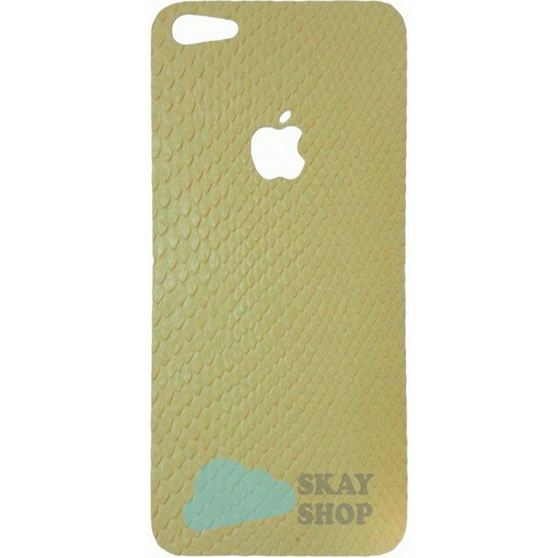 Кожаная наклейка на iPhone 5 Snake Skin Apple Logo White