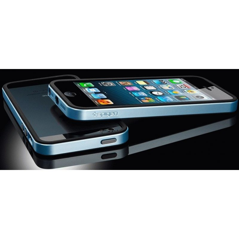 Бампер для iPhone 5 SGP Case Neo Hybrid EX Slim Metal Blue (SGP09656)
