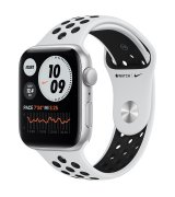 Apple Watch SE 44mm (GPS) Silver Aluminum Case with Pure Platinum/Black Nike Sport Band (MYYH2UL/A)
