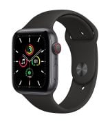 Apple Watch SE 44mm (GPS+LTE) Space Gray Aluminum Case with Black Sport Band (MYER2)