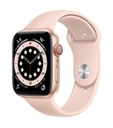 Apple Watch Series 6 44mm (GPS+LTE) Gold Aluminum Case with Pink Sand Sport Band (M07G3)