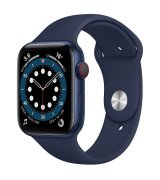 Apple Watch Series 6 44mm (GPS+LTE) Blue Aluminum Case with Deep Navy Sport Band (M07J3)