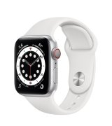 Apple Watch Series 6 40mm (GPS+LTE) Silver Aluminum Case with White Sport Band (M06M3/M02N3)