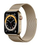 Apple Watch Series 6 44mm (GPS+LTE) Gold Stainless Steel Case with Gold Milanese Loop (M09G3)