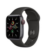 Apple Watch SE 40mm (GPS+LTE) Space Gray Aluminum Case with Black Sport Band (MYED2/MYEK2)