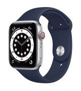 Apple Watch SE 44mm (GPS+LTE) Silver Aluminum Case with Deep Navy Sport Band (MYEN2/MYEW2)
