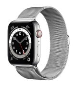 Apple Watch Series 6 44mm (GPS+LTE) Silver Stainless Steel Case with Silver Milanese Loop (M07M3/M09E3)