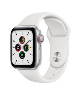 Apple Watch SE 40mm (GPS+LTE) Silver Aluminum Case with White Sport Band (MYE82/MYEF2)