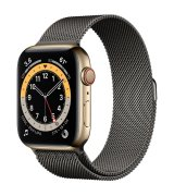 Apple Watch Series 6 44mm (GPS+LTE) Gold Stainless Steel Case with Graphite Milanese Loop (M0GD3/M0GV3)