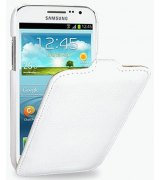 Кожаный чехол Tetded Flip для Samsung Galaxy S4 Mini Duos I9192 White