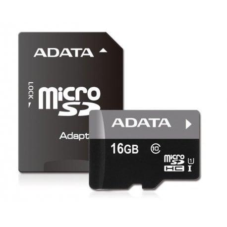 Карта памяти ADATA 16GB microSDHC Class 10 UHS-I R10MB/s + SD-адаптер (AUSDH16GUICL10-RA1)