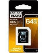 Goodram microSDXC 64GB Class 10 UHS I + адаптер RETAIL 10 (SDU64GXCUHS1AGRR10)