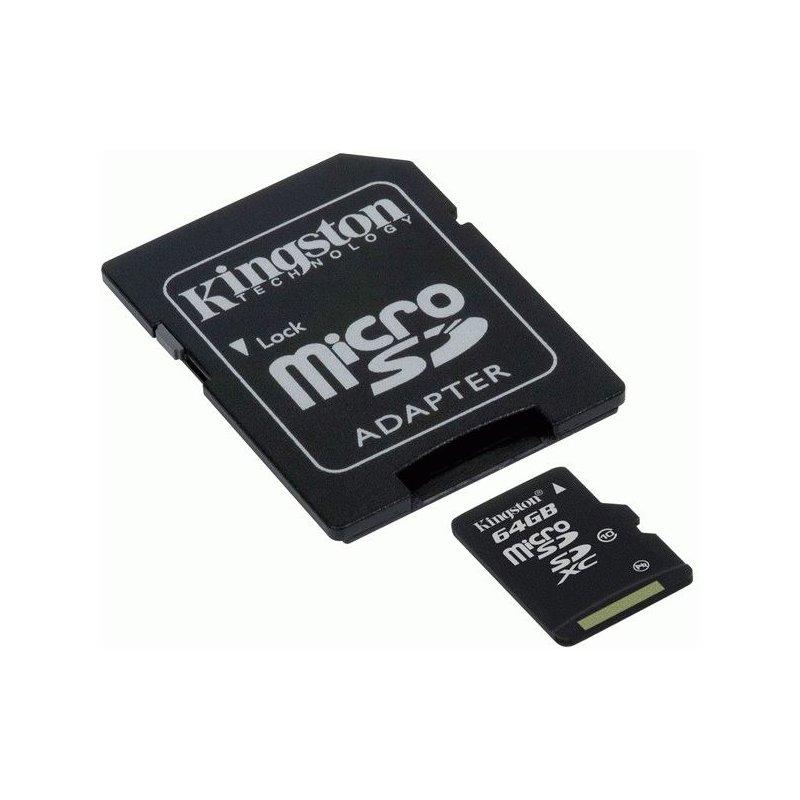 Kingston microSDXC 64GB Class 10 + SD адаптер