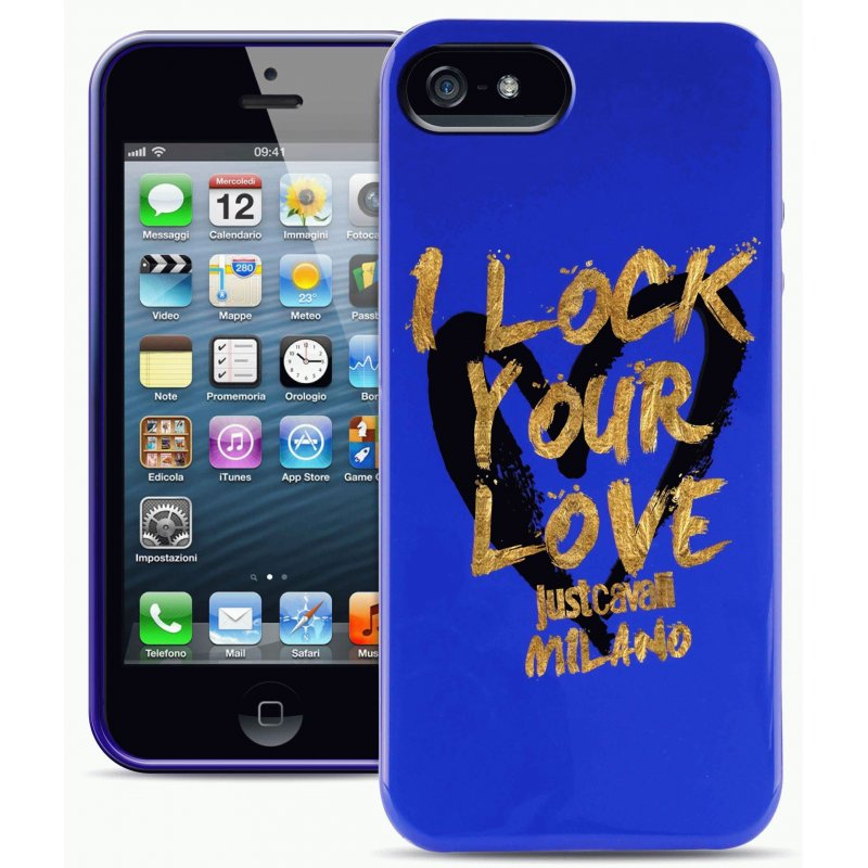 Puro Just Cavalli I Lock Your Love накладка для iPhone 5/5S Blue