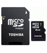Карта памяти TOSHIBA microSD 4 GB Class 4 (+ SD адаптер)