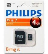 Карта памяти Philips microSDHC 4 GB Class 4 (+адаптер)