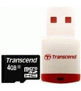 Карта памяти Transcend microSDHC 4 GB Class 4 (+ RDP3 кардридер)
