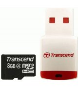 Карта памяти Transcend microSDHC 8 GB Class 4 (+ RDP3 кардридер)