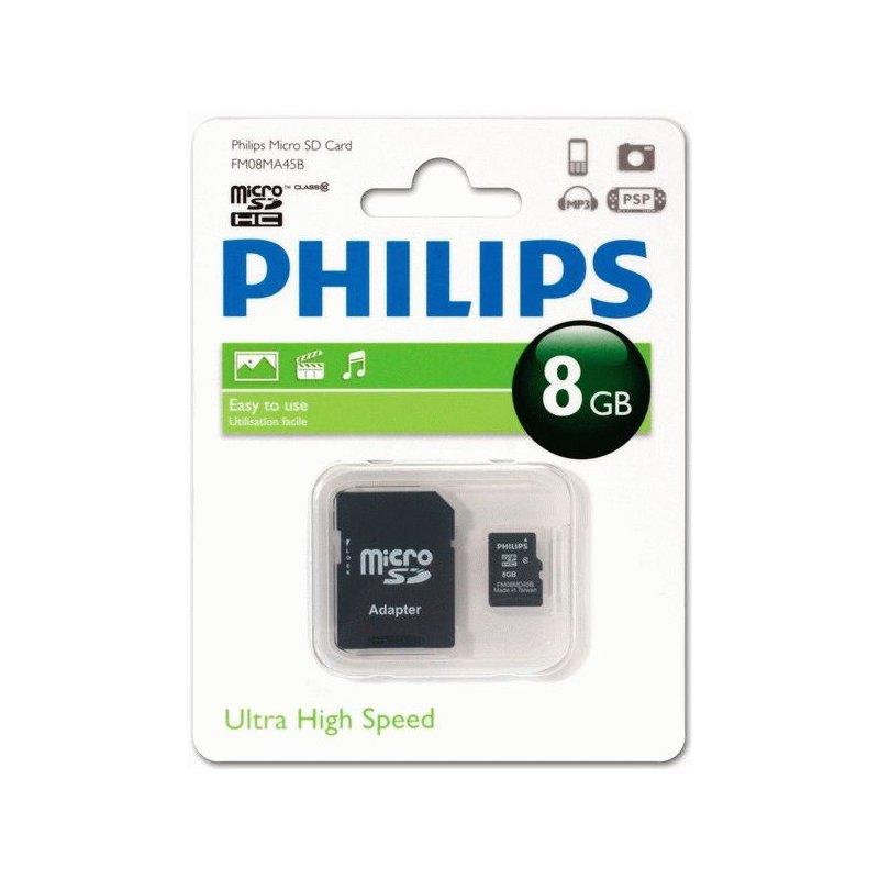 Карта памяти Philips microSDHC 8 GB Class 10 (+адаптер)