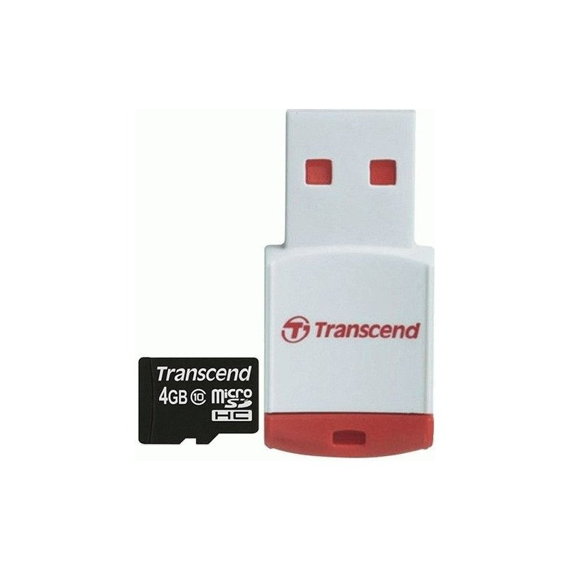 Карта памяти Transcend microSDHC 4 GB Class 10 (+ RDP3 картридер)