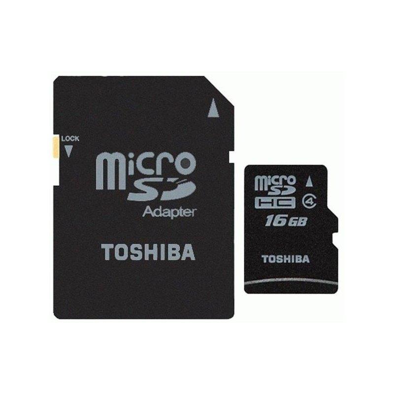 Карта памяти TOSHIBA microSDHC 16 GB Class 4 (+ SD адаптер)