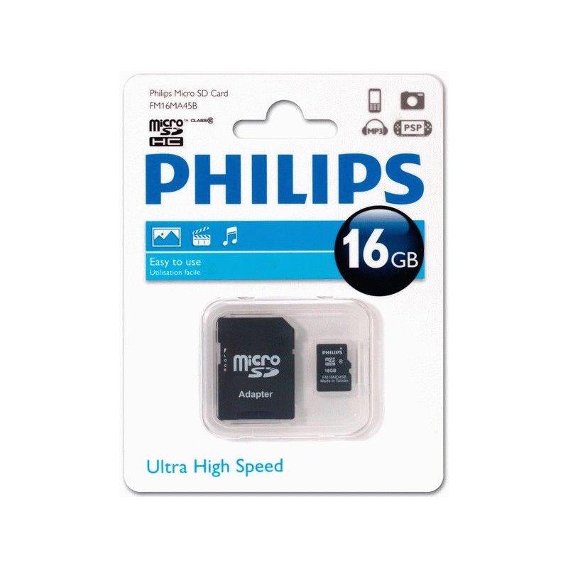 Карта памяти Philips microSDHC 16 GB Class 10 (+адаптер)