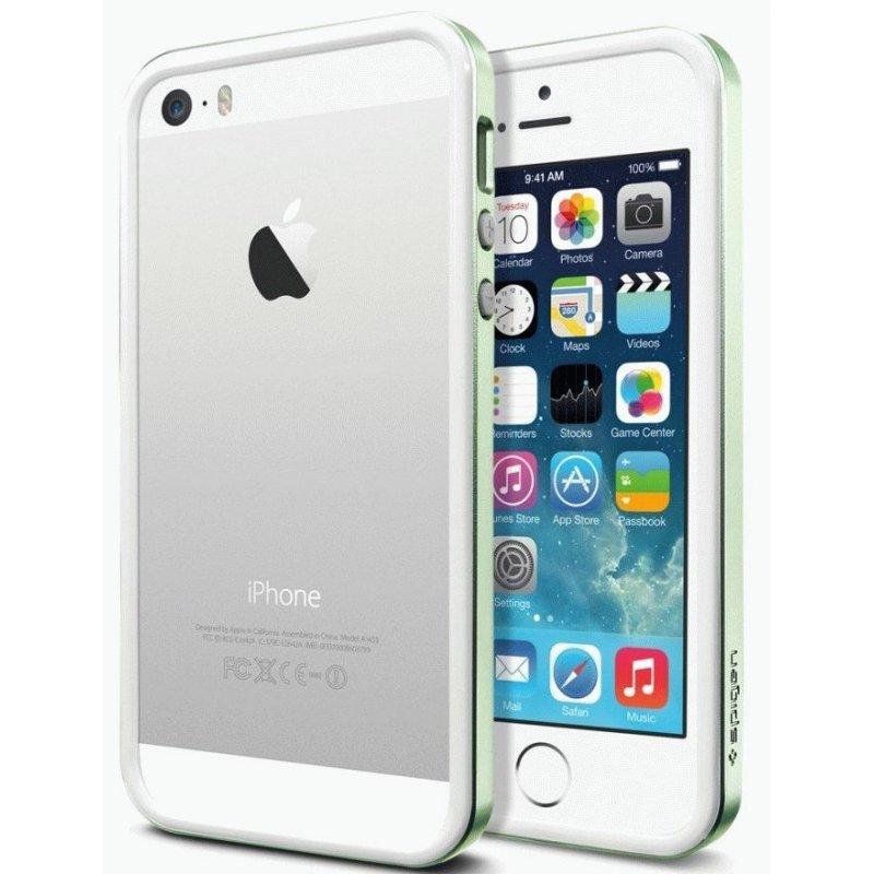 Бампер для iPhone 5 SGP Case Neo Hybrid EX Slim Metal Green (SGP10035)