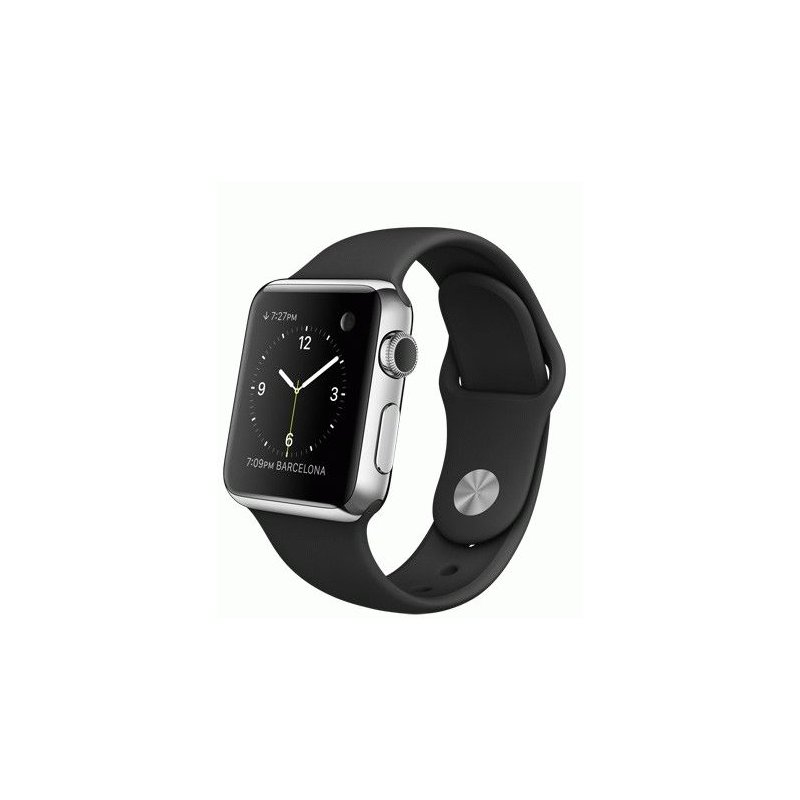 Apple Watch 38mm Stainless Steel Case with Black Sport Band