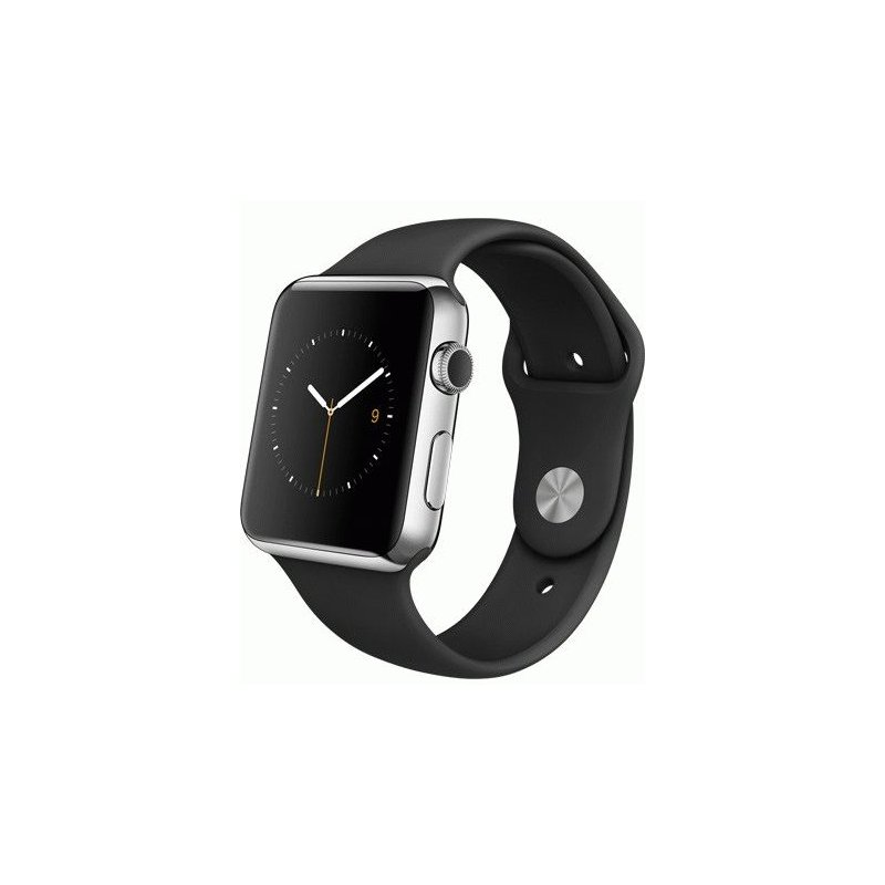 Apple Watch 42mm Stainless Steel Case with Black Sport Band (MJ3U2LL/A)