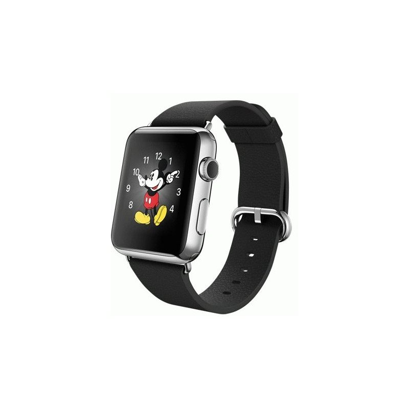Apple Watch 42mm Stainless Steel Case with Black Classic Buckle (MJ3X2LL/A)