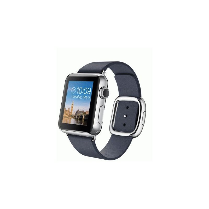 Apple Watch 38mm Stainless Steel Case with Midnight Blue Modern Buckle Size L (MJ352LL/A)