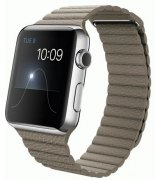 Apple Watch 42mm Stainless Steel Case with Stone Leather Loop Size L (MJ442)