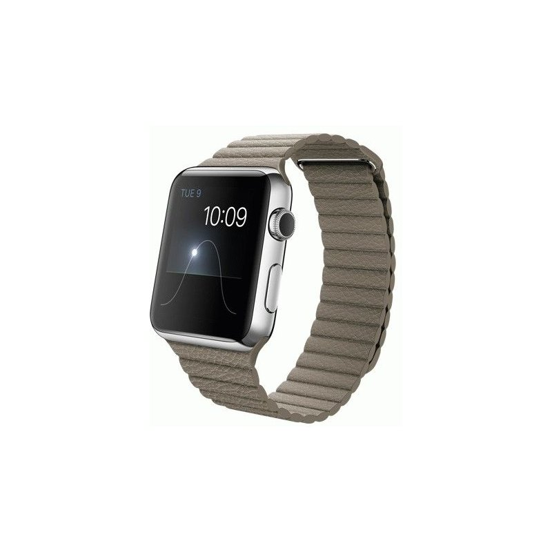 Apple Watch 42mm Stainless Steel Case with Stone Leather Loop Size L (MJ442LL/A)