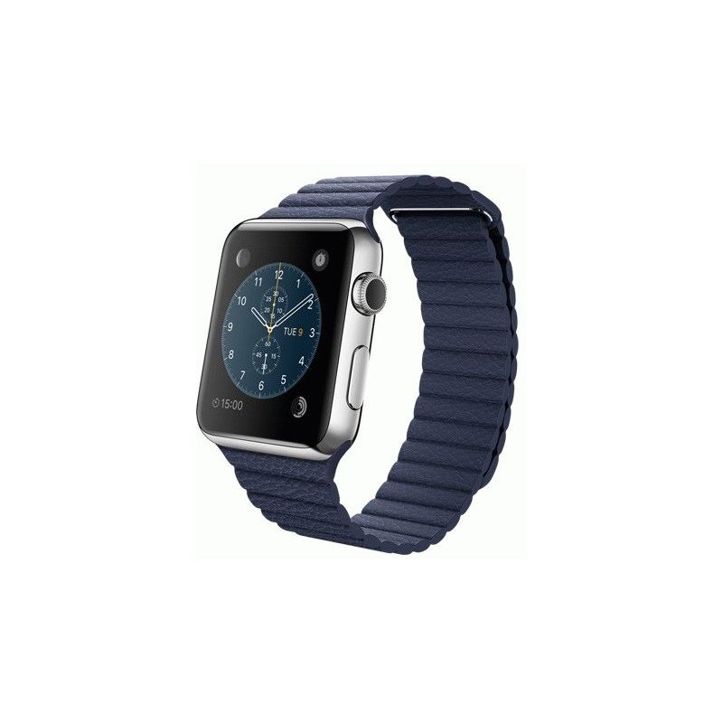 Apple Watch 42mm Stainless Steel Case with Bright Blue Leather Loop Size L (MJ462LL/A)