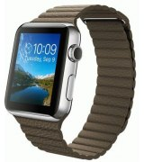 Apple Watch 42mm Stainless Steel Case with Light Brown Leather Loop Size L (MJ422)