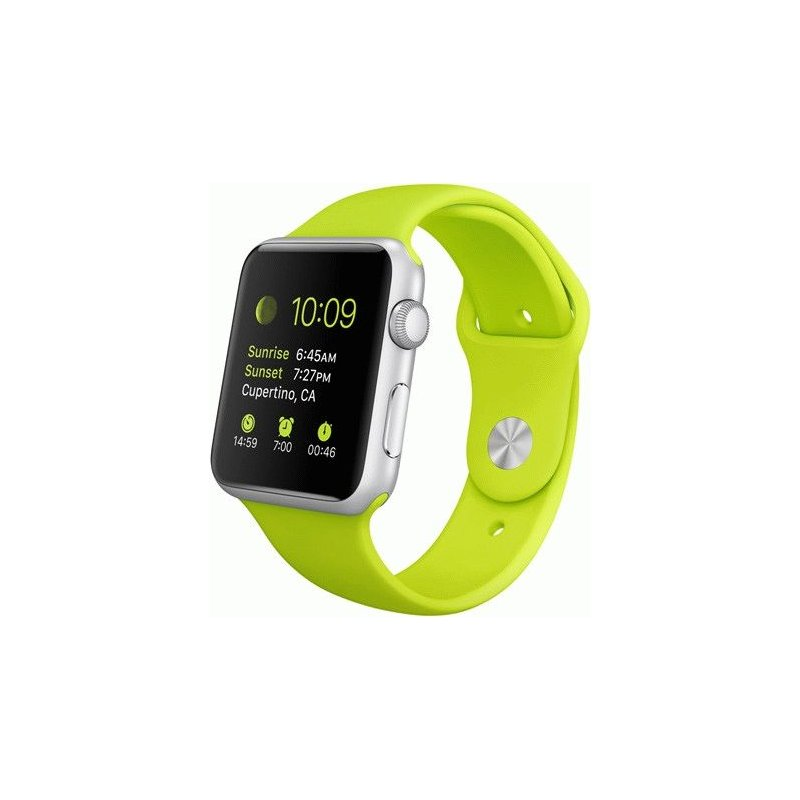 Apple Watch Sport 42mm Silver Aluminum Case with Green Sport Band