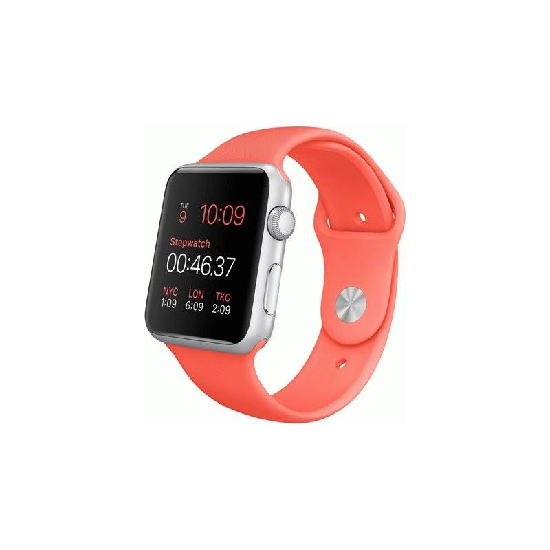 Apple Watch Sport 42mm Silver Aluminum Case with Pink Sport Band