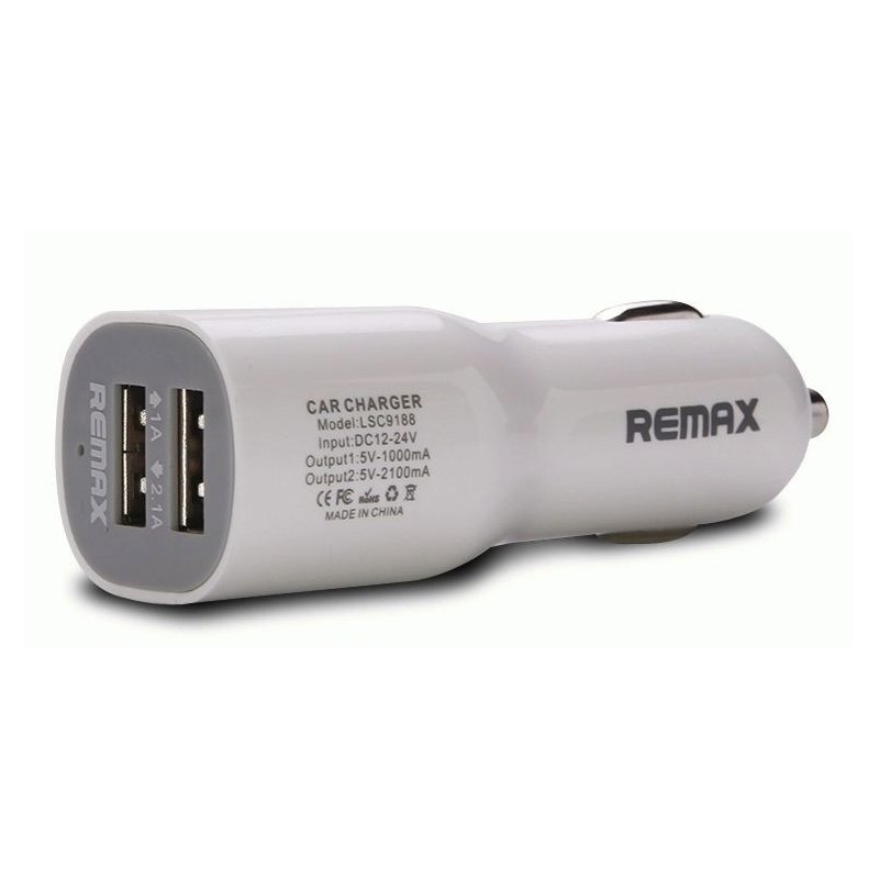 Автомобильное зарядное устройство Remax Car charger 2 USB White