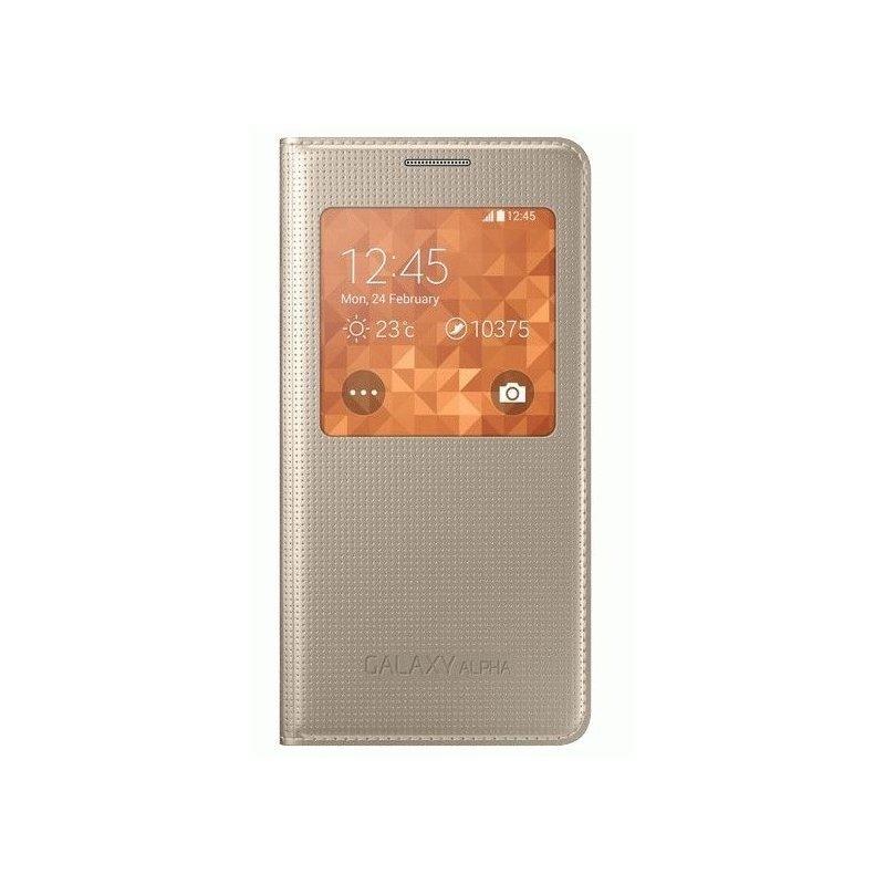 Оригинальный чехол S View для Samsung G850F Galaxy Alpha Gold (EF-CG850BFEGRU)