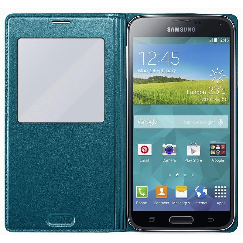 Оригинальный чехол S View для Samsung Galaxy S5 G900 Green (EF-CG900BGEGRU)