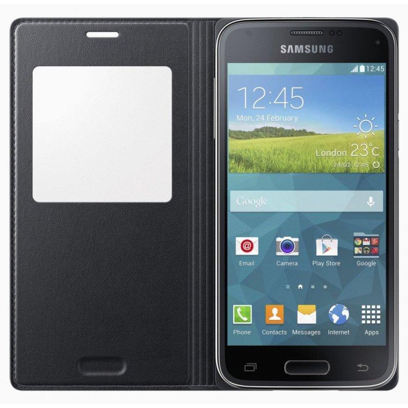 Оригинальный чехол S Cover View для Samsung G800H Galaxy S5 Mini Duos Black (EF-CG800BBEGRU)
