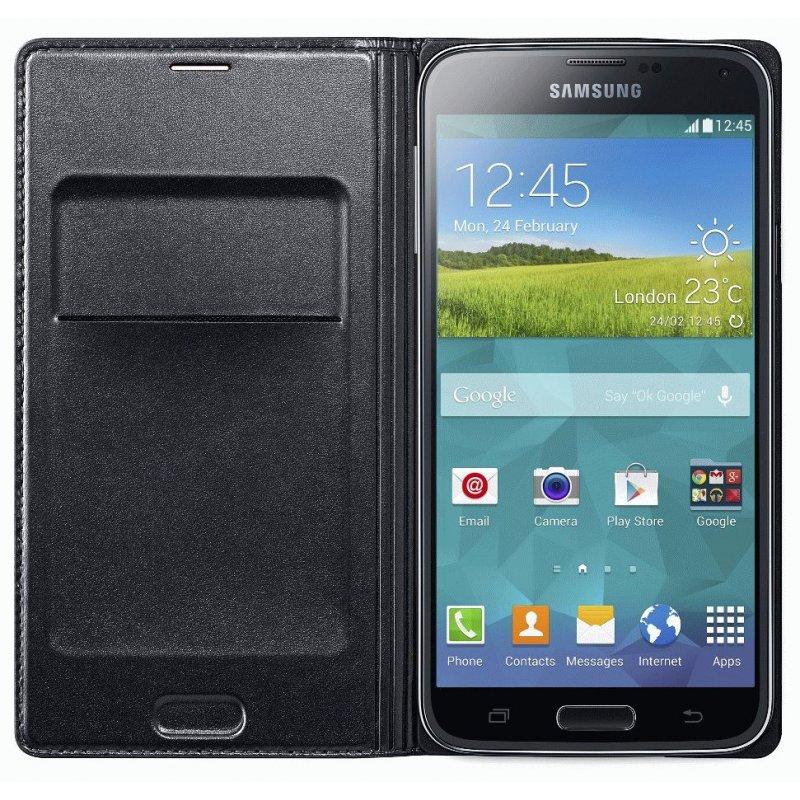 Оригинальный чехол Flip Wallet для Samsung Galaxy S5 G900 Black (EF-WG900BBEGRU)