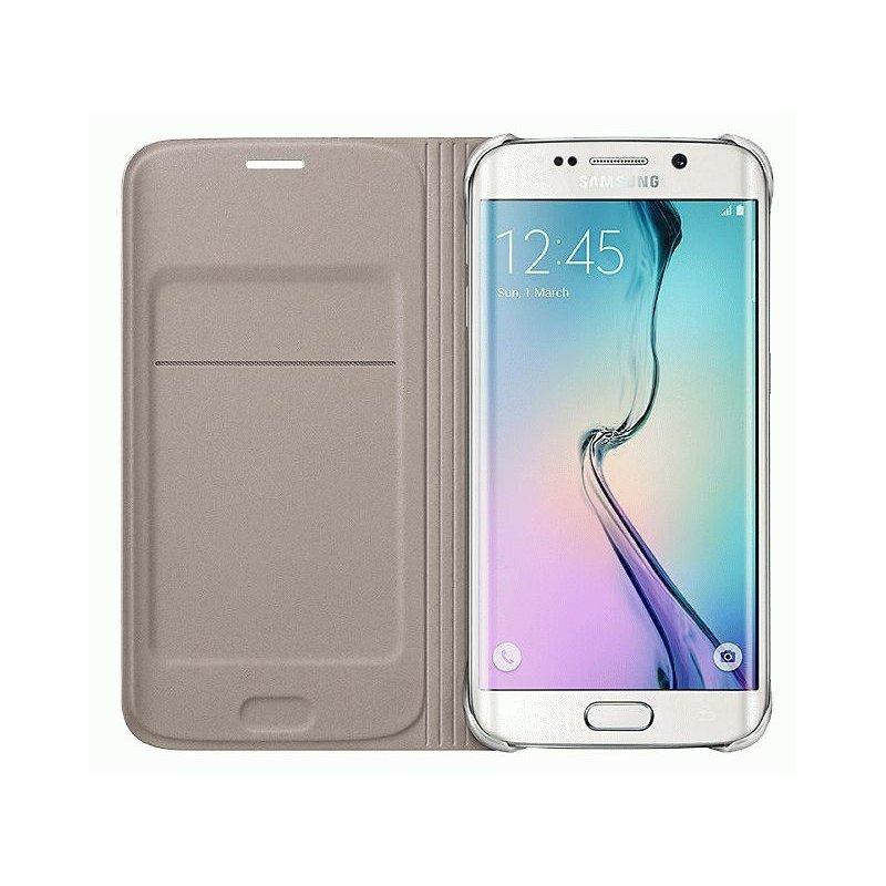 Оригинальный чехол Flip Wallet для Samsung Galaxy S6 Edge G925F Gold (EF-WG925BFEGRU)