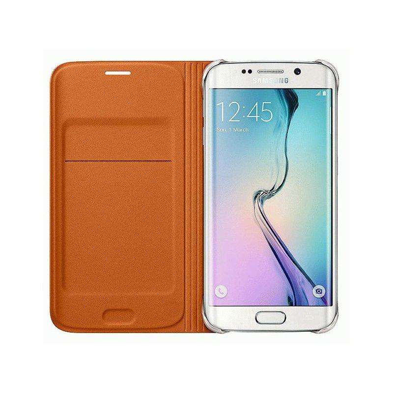 Оригинальный чехол Flip Wallet для Samsung Galaxy S6 Edge G925F Orange (EF-WG925BOEGRU)