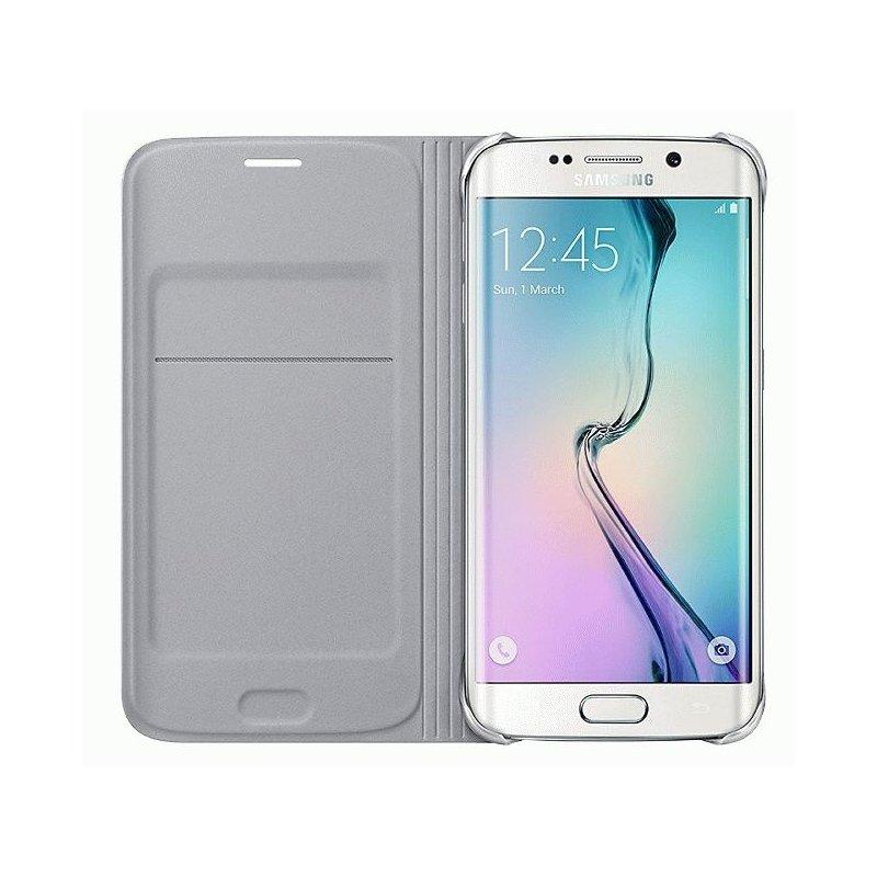Оригинальный чехол Flip Wallet для Samsung Galaxy S6 Edge G925F Silver (EF-WG925BSEGRU)