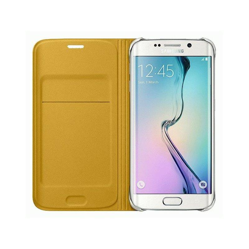 Оригинальный чехол Flip Wallet для Samsung Galaxy S6 Edge G925F Yellow (EF-WG925BYEGRU)