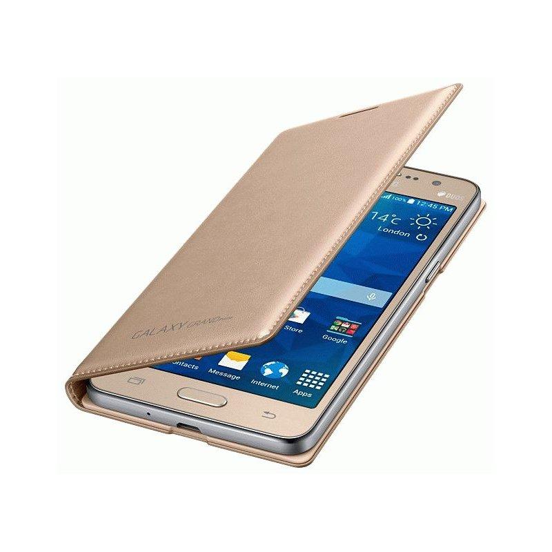 Оригинальный чехол Flip Wallet для Samsung Galaxy Grand Prime Duos G530H Gold (EF-WG530BFEGRU)