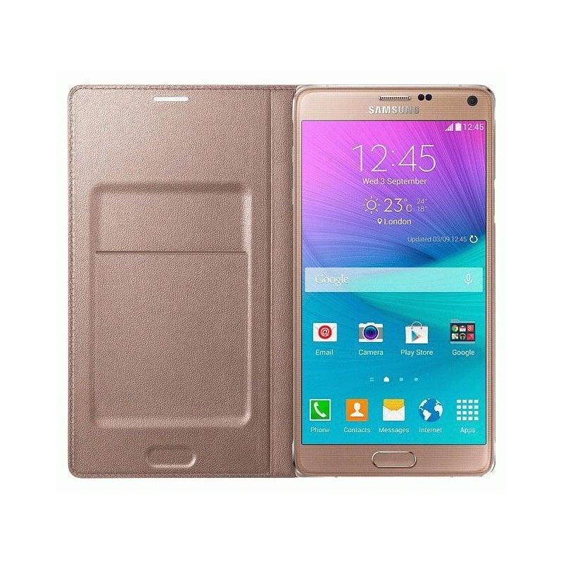 Оригинальный чехол LED Flip Wallet для Samsung Galaxy Note 4 N910H Gold (EF-NN910BEEGRU)