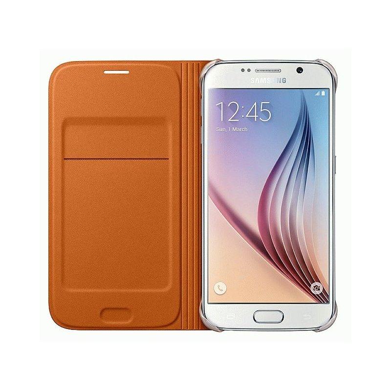 Оригинальный чехол Flip Wallet для Samsung Galaxy S6 G920 Orange (EF-WG920BOEGRU)